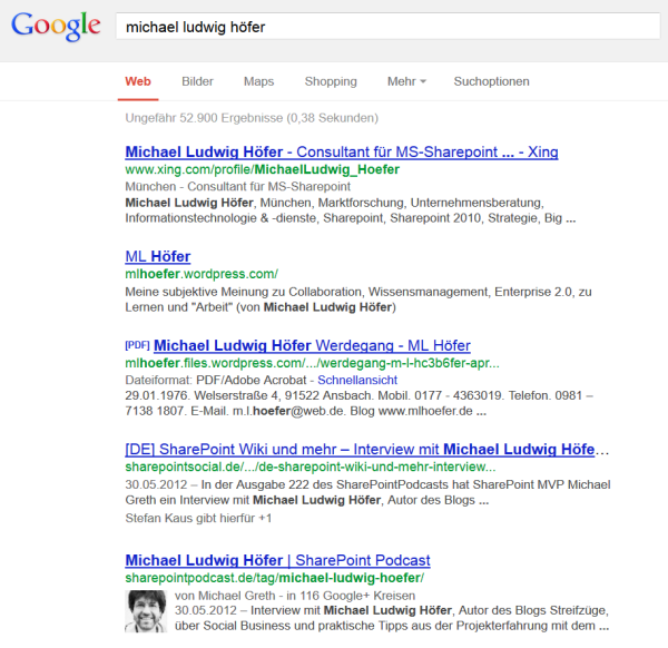 Google Suchergebnisse für Michael Ludwig Höfer